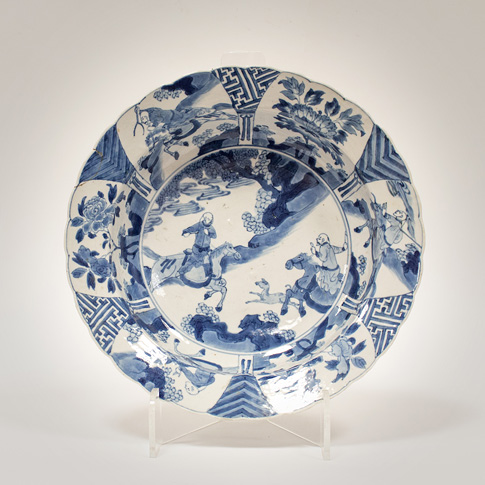 Blue and white porcelain dish in the Kraak style, China, Kangxi, circa 1700