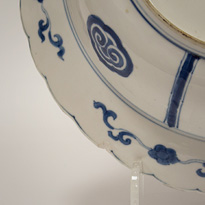 Blue and white porcelain dish in the Kraak style (detail 2), China, Kangxi, circa 1700 [thumbnail]