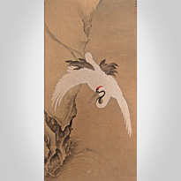 Crane flying across the mountains, by Wen Cheng (Chinese, 15th century) - Japan,