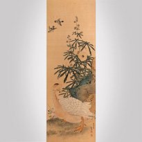Goose and flowers, by Maruyama Okyo (1733-1795) - Japan,