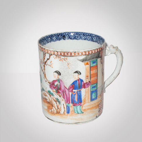 Famille-rose export porcelain tankard, China, 18th century