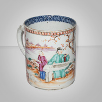 Famille-rose export porcelain tankard (other side), China, 18th century [thumbnail]