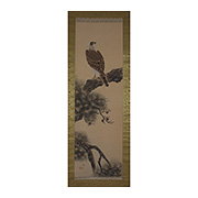 Hanging scroll painting of a hawk, by Yoyu - Japan,