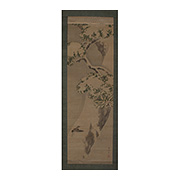 Hanging scroll painting of a sparrow, by Nakajima Raisho (1796-1871) - Japan,