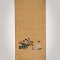 Hanging scroll painting of The Three Famous Poets, by Nishide Kofuku (1926- active 2010) - Japan,