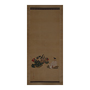 Hanging scroll painting of The Three Famous Poets, by Nishide Kofuku (1926- active 2010), Japan,