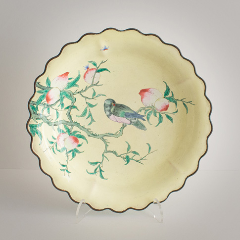 Painted enamel dish, China, Republic period, circa 1930