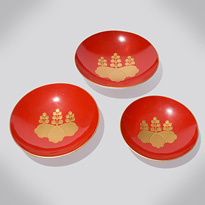 Three Aizu-nuri lacquer sake cups (sakazuki), by Shinjo, Japan, Meiji era, circa 1900 [thumbnail]