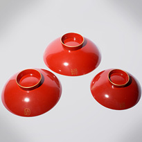 Three Aizu-nuri lacquer sake cups (sakazuki), by Shinjo (undersides), Japan, Meiji era, circa 1900 [thumbnail]