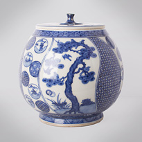 Shonzui style blue and white porcelain water jar (mizusashi) (side 2), Japan, Meiji era, circa 1900 [thumbnail]