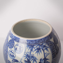 Shonzui style blue and white porcelain water jar (mizusashi) (inside, lid off), Japan, Meiji era, circa 1900 [thumbnail]