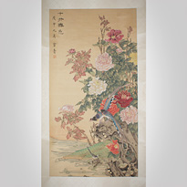 Hanging scroll painting, Perfect Spring Colour, by Gong Yin - China, dated September Wu Shen year (1968)
