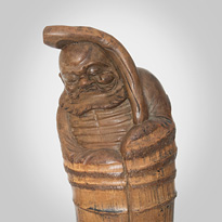Carved bamboo figure (close-up of front), China/Japan, 19th century [thumbnail]