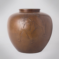 Patinated bronze vase, by Kozan, Japan, Taisho era, early 20th century [thumbnail]