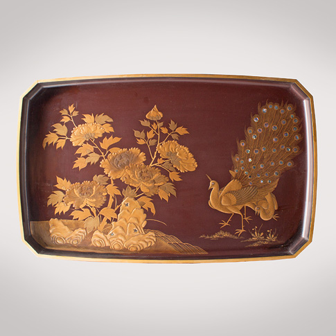 Lacquer Peacock tray, Japanese, Meiji Era, late 19th century