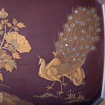 Lacquer Peacock tray (close-up), Japanese, Meiji Era, late 19th century [thumbnail]