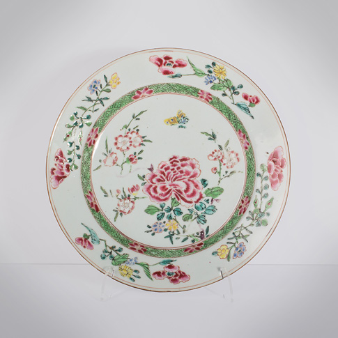 Famille rose export porcelain plate, China, Qianlong period, circa 1730-1760