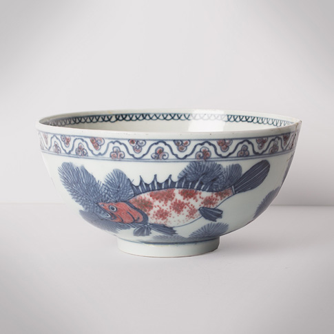 Blue and white and copper red porcelain bowl, China, Republic period, circa 1930
