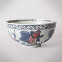 Blue and white and copper red porcelain bowl (side 2), China, Republic period, circa 1930 [thumbnail]