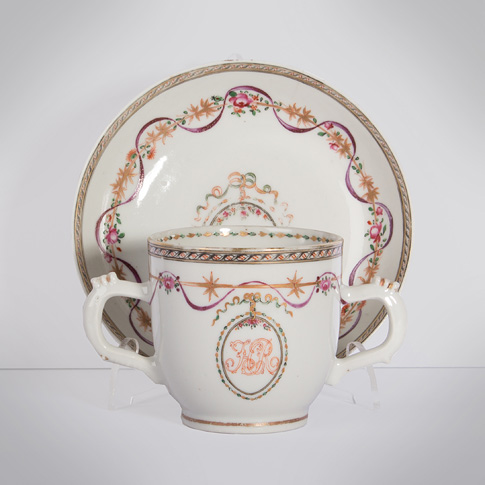 Famille rose export porcelain chocolate cup and saucer, China, Qianlong period, circa 1760