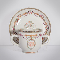 Famille rose export porcelain chocolate cup and saucer, China, Qianlong period, circa 1760 [thumbnail]