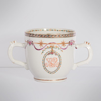 Famille rose export porcelain chocolate cup and saucer (cup), China, Qianlong period, circa 1760 [thumbnail]
