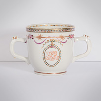 Famille rose export porcelain chocolate cup and saucer (cup, view 2), China, Qianlong period, circa 1760 [thumbnail]