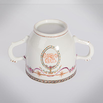 Famille rose export porcelain chocolate cup and saucer (cup base), China, Qianlong period, circa 1760 [thumbnail]