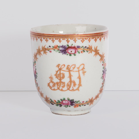 Famille rose export porcelain coffee cup, China, Qianlong period, circa 1760