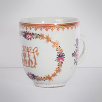 Famille rose export porcelain coffee cup (view 2), China, Qianlong period, circa 1760 [thumbnail]