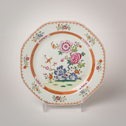 Famille rose porcelain plate, China, Qianlong, mid-late 18th century