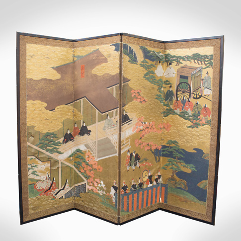 Four-fold screen, Tosa School, Japan, Meiji Era, late 19th century