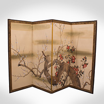 Four-fold screen of flowering plum and camelia, after Suzuki Kiitsu - Japan, early 20th century